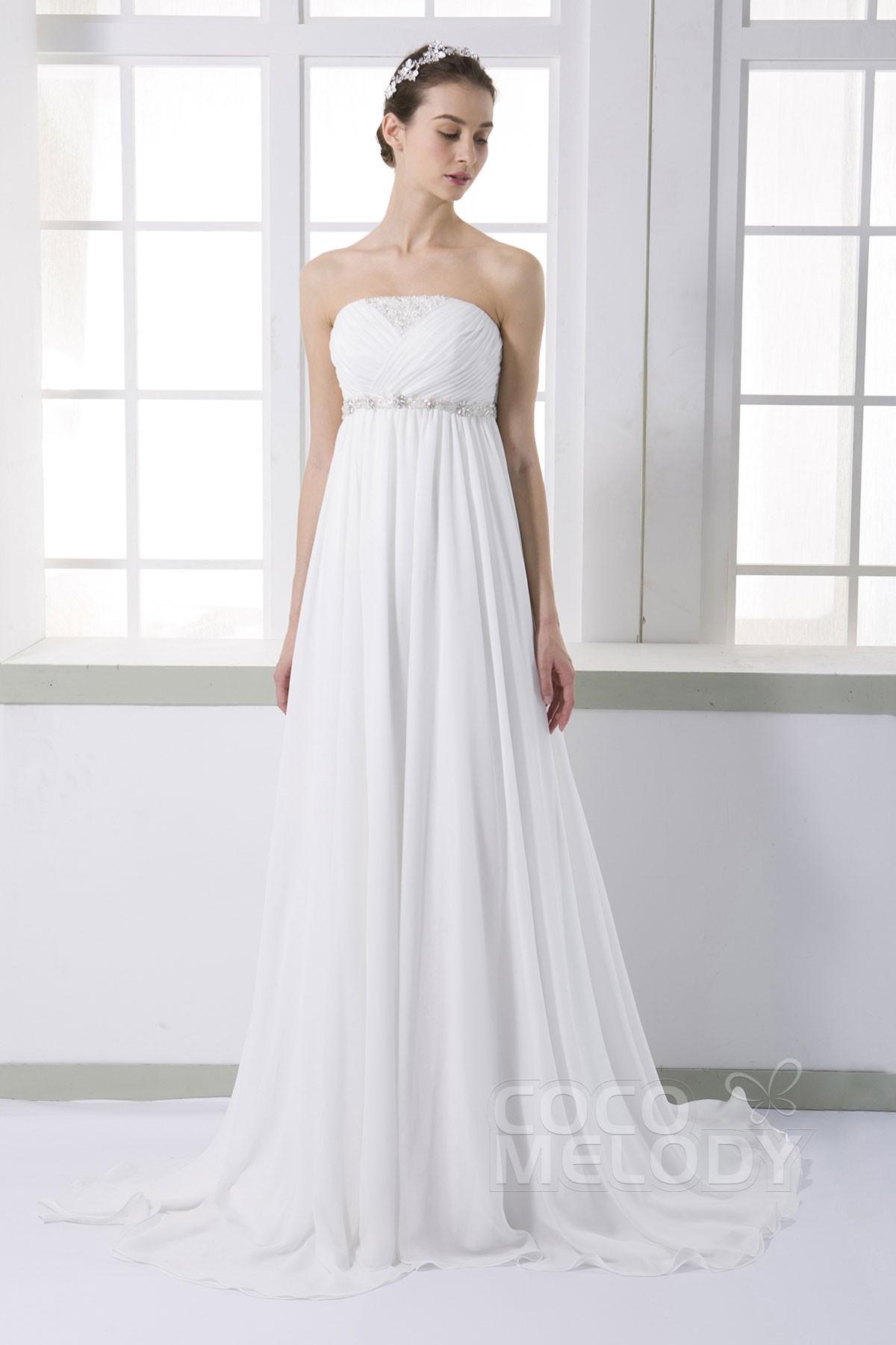 シフォン ビスチェ エンパイアウェディングドレス